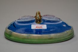 An arts and crafts styled soap dish by Royal Doulton for Wright's Coal Tar Soap, modelled with a