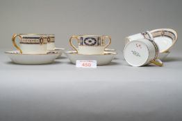 A set of six coffee cups or canister with saucers bearing a green Cauldon china stamp having