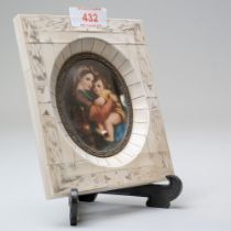 A portrait miniature copy of fine detail depicting the Madonna della Sedia after Raphael housed in