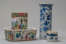 Four pieces of hard paste Chinese export ceramics including a Cantonese palette brush and water