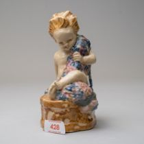 A studio pottery figure Carter Stabler Adams by Phoebe Stabler stamped signed and dated 1916 of a '
