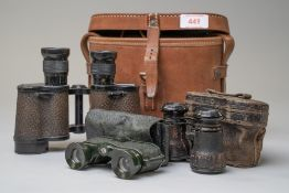 Three pairs of vintage binoculars including a set of Watson Baker dated 1943 6.E/293 6839 and two