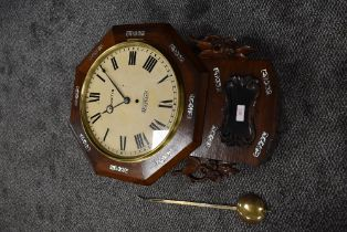 An American styled drop dial wall clock. Having a fusee movement with painted face for Exeter
