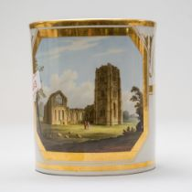 A large sized antique porcelain mug or cup by Flight Barr and Barr Royal Works Worcester, having a