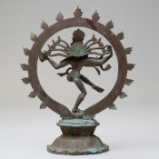 An antique bronze cast figure of an Indian Goddess Shiva or a Nataraja Sivakami Panchaloha statue
