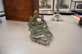 A bronze cast Bohemian style incense burner or censor having an Indian design theme