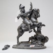 A late Victorian metal spelter figure study of a medieval knight on horse back in a battle stance.