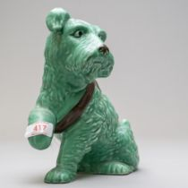 A Mid century Sylvac dog having sling to poorly paw and in the green colour way, impressed to