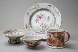 A selection of hard paste ceramics including a Japanese plate and incense stand with decorative
