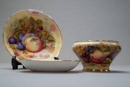 Three ceramic pieces by Aynsley in the Orchard Gold design including one pin dish stamped D Jones,