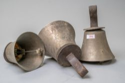 Thirty late Victorian musical church or similar hand bells having brass bodies with leather strap