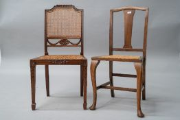 An early 20th Century mahogany frame bedroom chair having slat back, bergere canework seat and