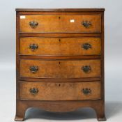 A reproduction regency bow fronted chest of four long drawers, small proportions, width approx.