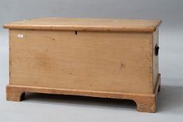 A 19th Century stripped pine blanket box , approx dimensions 97 x 54 x 49cm, on bracket feet, top