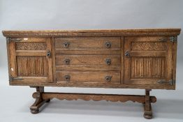 A traditional stained frame Priory style sideboard, width approx. 161cm