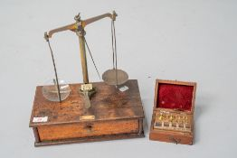 A 19th Century mahogany and brass set of jewellers or similar scales