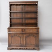 An early 20th Century oak dresser, would also work as a sideboard without the delft rack, width