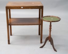 A vintage mahogany tea table of rectangular form with undertier, approx. 61 x 41cm, and a
