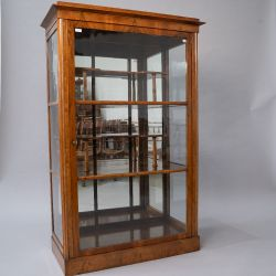An interesting late 19th or early 20th century glazed display cabinet mahogany/walnut, possibly a