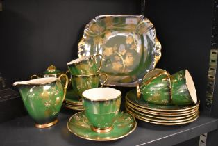 A rare coffee service by Carleton ware in the Vert Royal pattern, six cups and saucers with side
