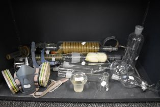 A selection of scientific glass measures and tubes for chemistry or experiments