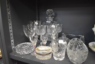 A selection of clear cut crystal glass wares including wine glasses and decanter etc