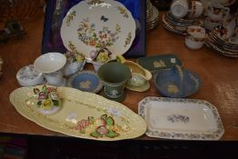 A selection of ceramics including Wedgwood Jasperware blue and green designs