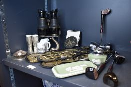 A pair of Kelvin Hughes brass cased binoculars also a selection of hardware including horse brass