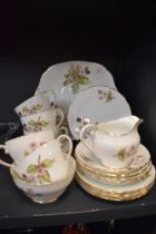 A part tea service by Adderley in the Bramble design in fine condition