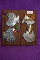Two mid century design ceramic wall tiles by Hornsea Pottery in a John Clappison design depicting