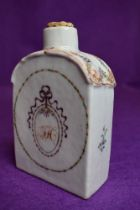 A late Georgian hard paste porcelain tea canister or caddy having hand decorated panels and in