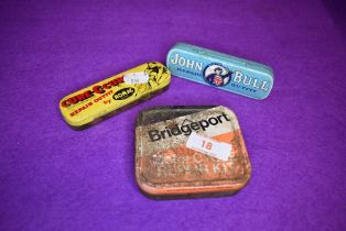Three vintage bicycle or tyre repair outfit tins including John Bull and Romac
