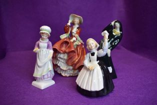 Four ceramic figure studies including Royal Doulton Top o the hill, Mothers Help and Beth
