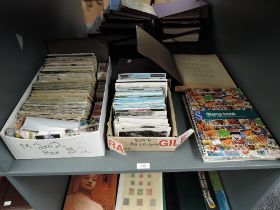 A collection of World Stamps and Trade Cards in albums and loose, Cigarette Cards in albums and