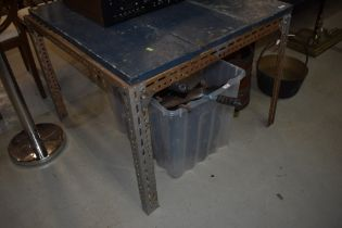 A industrial style work bench approx. 92 x 92cm