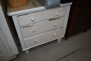 A 19th Century painted pine bedroom chest of three drawers on turned feet, width approx. 87cm