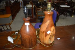 Two turned wood table lamps