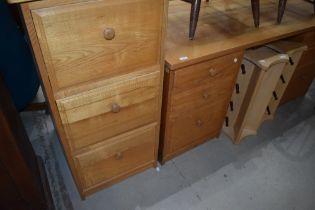 A Scandinavian home office desk and filing cabinet, by Treske , in golden oak finish