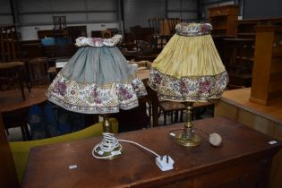 Two (not a pair) of vintage brass table lamps