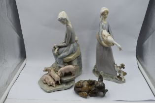 Two Lladro study, Young Women with Piglets 4572 and Girl with Goose and Puppy (af) and a Royal