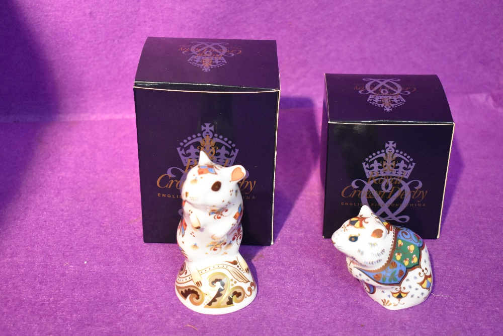 Two Royal Crown Derby Paperweights, Hamster and Gerbil, both with original gold stoppers and boxed