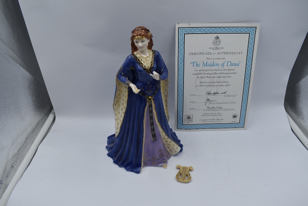 A Royal Worcester Compton & Woodhouse limited edition Figurine, The Maiden Of Dana 527/7500 with