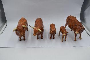 Five modern ceramic Border Fine Arts Studies, Limousine Cow (af), Limousine Calf (af), Highland Bull