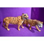 Two Beswick studies,Tiger 2096 and Leopard 1082