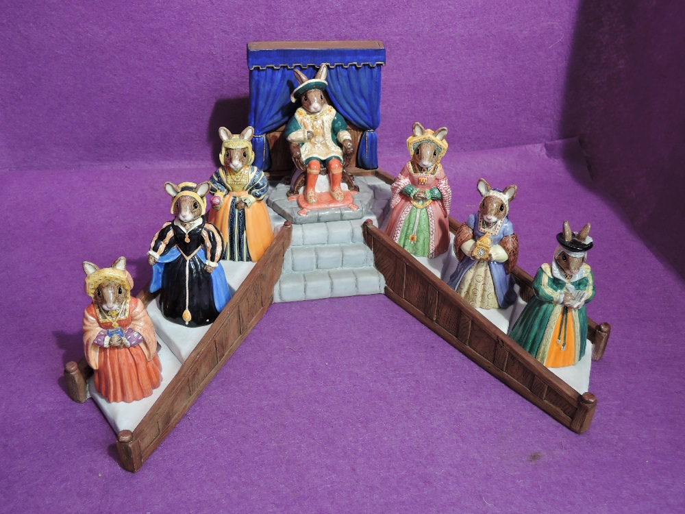 Seven Royal Doulton Bunnykins figures, The Tudor Collection, Henry VIII and his six wives on