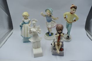 Five Royal Worcester Figurines, The Fan, Monday's Child 3257, Thursday's Child 3534, Saturday's