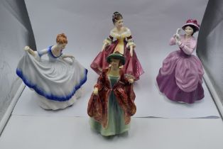 Four Royal Doulton figurines, Margaret HN1989, Southern Belle HN2229, Pamela HN3223 with signature