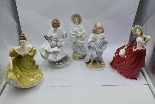 Four figurines, Royal Worcester Lullaby, Coalport Visiting Day (af), Royal Doulton Autumn Breezes