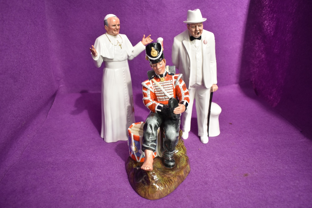 Three Royal Doulton figure studies, Pope John Paul 2nd HN2888 (AF) and two seconds Winston Churchill