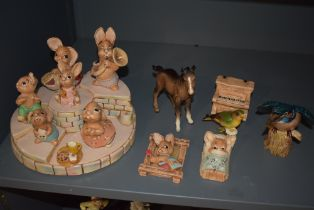 Four Beswick studies, Kingfisher 2371, Whitethroat 2106, Greenfinch 2105 and Shire Foal (af) along